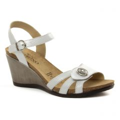 Chaussures femme été 2018 - nu-pieds compensés Geo Reino blanc gris