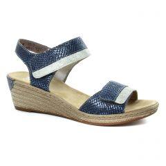 nu-pieds-talons-compenses bleu argent: même style de chaussures en ligne pour femmes que les Marco Tozzi