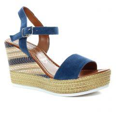 nu-pieds-talons-compenses bleu: même style de chaussures en ligne pour femmes que les Marco Tozzi