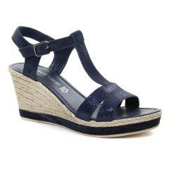 Chaussures femme été 2018 - nu-pieds compensés marco tozzi bleu marine