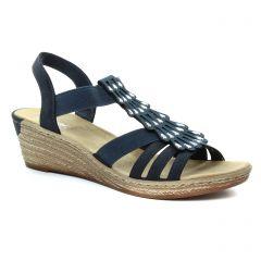 nu-pieds-talons-compenses bleu marine: même style de chaussures en ligne pour femmes que les Rieker
