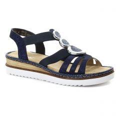 sandales-compensees bleu marine: même style de chaussures en ligne pour femmes que les Rieker