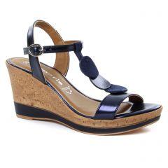 nu-pieds-talons-compenses bleu marine: même style de chaussures en ligne pour femmes que les Jb Martin