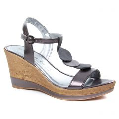 nu-pieds-talons-compenses gris argent: même style de chaussures en ligne pour femmes que les Tamaris