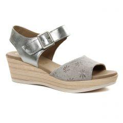 nu-pieds-talons-compenses gris argent: même style de chaussures en ligne pour femmes que les Dorking