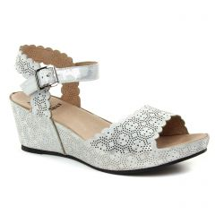 Mamzelle Douga Acier : chaussures dans la même tendance femme (nu-pieds-talons-compenses gris argent) et disponibles à la vente en ligne
