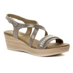 nu-pieds-talons-compenses gris doré: même style de chaussures en ligne pour femmes que les Dorking