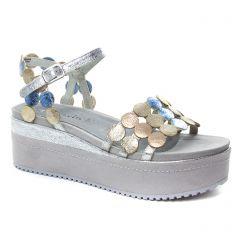 nu-pieds-talons-compenses gris multi: même style de chaussures en ligne pour femmes que les Scarlatine
