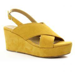 Chaussures femme été 2018 - nu-pieds compensés tamaris jaune