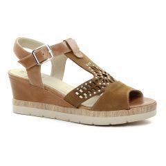 Dorking 7483 Biscuit : chaussures dans la même tendance femme (nu-pieds-talons-compenses marron beige) et disponibles à la vente en ligne