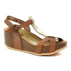 Chaussures femme été 2018 - nu-pieds compensés Scarlatine marron doré