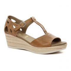 nu-pieds-talons-compenses marron: même style de chaussures en ligne pour femmes que les Rieker