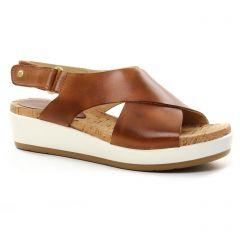 Chaussures femme été 2018 - nu-pieds compensés Pikolinos marron