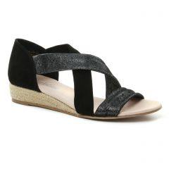 espadrilles-compensees noir argent: même style de chaussures en ligne pour femmes que les Scarlatine