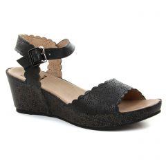 nu-pieds-talons-compenses noir beige: même style de chaussures en ligne pour femmes que les Rieker