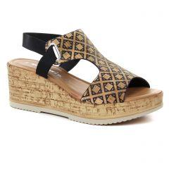 nu-pieds-talons-compenses noir beige: même style de chaussures en ligne pour femmes que les Tamaris