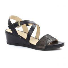 nu-pieds-talons-compenses noir bronze: même style de chaussures en ligne pour femmes que les Geox