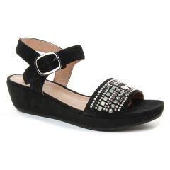 nu-pieds-talons-compenses noir: même style de chaussures en ligne pour femmes que les Mamzelle