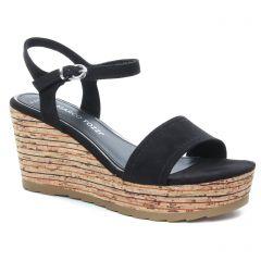 nu-pieds-talons-compenses noir: même style de chaussures en ligne pour femmes que les Marco Tozzi