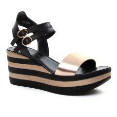 nu-pieds-talons-compenses noir rose: même style de chaussures en ligne pour femmes que les Tamaris