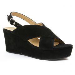 Chaussures femme été 2018 - nu-pieds compensés tamaris noir