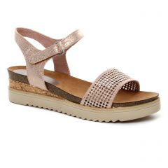 sandales-compensees rose métal: même style de chaussures en ligne pour femmes que les Marco Tozzi