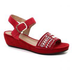 Mamzelle Livet Rouge : chaussures dans la même tendance femme (nu-pieds-talons-compenses rouge) et disponibles à la vente en ligne
