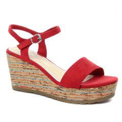 Chaussures femme été 2018 - nu-pieds compensés marco tozzi rouge