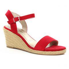Chaussures femme été 2018 - nu-pieds compensés tamaris rouge