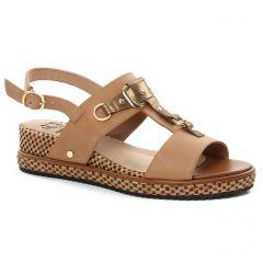 sandales-compensees marron doré: même style de chaussures en ligne pour femmes que les Jb Martin