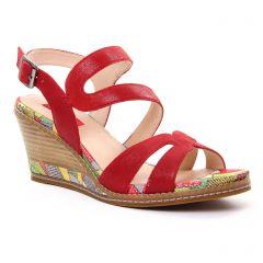 nu-pieds rouge multi: même style de chaussures en ligne pour femmes que les Fugitive