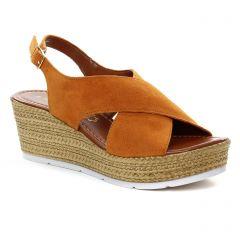 nu-pieds-semelle-corde orange marron: même style de chaussures en ligne pour femmes que les Marco Tozzi