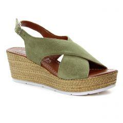 nu-pieds-semelle-corde vert kaki: même style de chaussures en ligne pour femmes que les Marco Tozzi