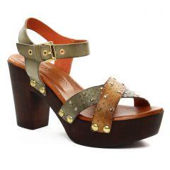 nu-pieds-talon marron vert: même style de chaussures en ligne pour femmes que les Tamaris