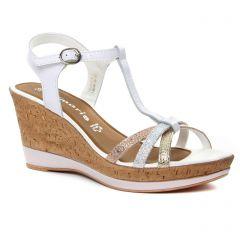 nu-pieds-talons-hauts blanc argent: même style de chaussures en ligne pour femmes que les Tamaris