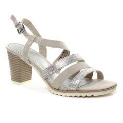 nu-pieds-talons-hauts gris argent: même style de chaussures en ligne pour femmes que les Marco Tozzi