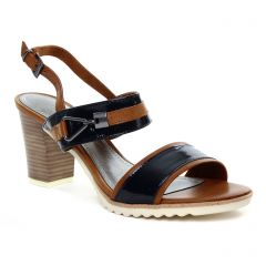 nu-pieds-talons-hauts marron bleu: même style de chaussures en ligne pour femmes que les Marco Tozzi