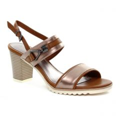 nu-pieds-talons-hauts rose marron: même style de chaussures en ligne pour femmes que les Marco Tozzi
