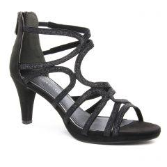 nu-pieds-talons-hauts noir argent: même style de chaussures en ligne pour femmes que les Marco Tozzi