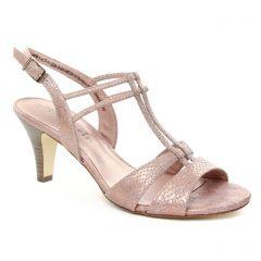 nu-pieds-talons-hauts rose doré: même style de chaussures en ligne pour femmes que les Tamaris