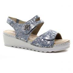 Chaussures femme été 2018 - nu-pieds compensés Remonte argent bleu