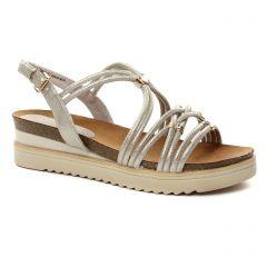 sandales-compensees beige doré: même style de chaussures en ligne pour femmes que les Marco Tozzi