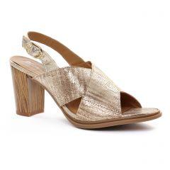 nu-pieds-talon beige doré: même style de chaussures en ligne pour femmes que les Scarlatine