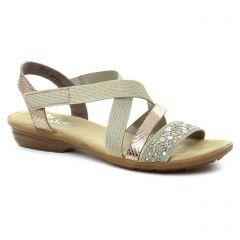 Rieker V3463 Beige : chaussures dans la même tendance femme (sandales beige doré) et disponibles à la vente en ligne