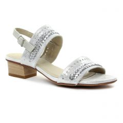 nu-pieds-trotteurs blanc argent: même style de chaussures en ligne pour femmes que les Tamaris