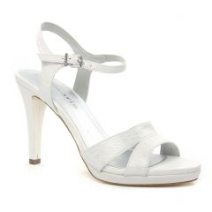 nu-pieds-talon blanc argent: même style de chaussures en ligne pour femmes que les Tamaris