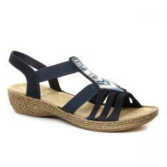 Chaussures femme été 2018 - sandales rieker bleu argent