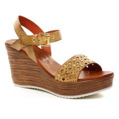 Chaussures femme été 2018 - nu-pieds compensés Scarlatine beige marron