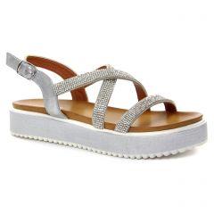 sandales-compensees gris argent: même style de chaussures en ligne pour femmes que les Café Noir