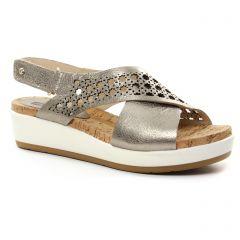 Chaussures femme été 2018 - nu-pieds compensés Pikolinos gris argent